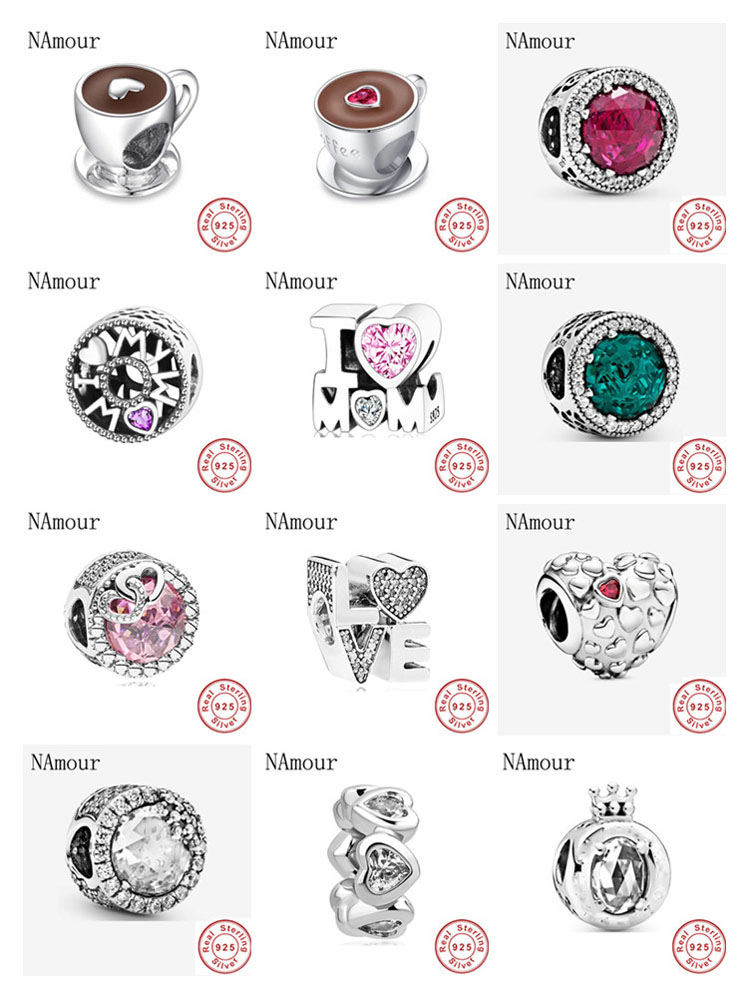 New i love mom love pink white spcer coffee cup Bead fit original Pandora charms silver 925 Bracelet for women fashion jewelry(China)