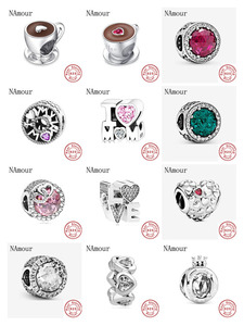 New i love mom love pink white spcer coffee cup Bead fit original Pandora charms silver 925 Bracelet for women fashion jewelry
