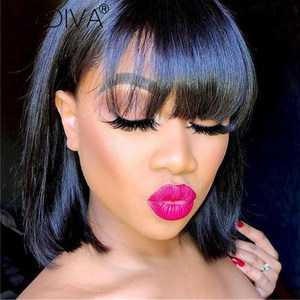 20cm--40cm perruque frange cheveux humain 150% perruque courte bresiliens Brazilian Short Bob Wig Straight Human Hair With Bangs(China)
