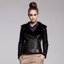 Abrigo de pelo de oveja Natural de cuero genuino abrigo de piel de oveja 100% de invierno chaquetas de piel cálida de bombardero para mujer