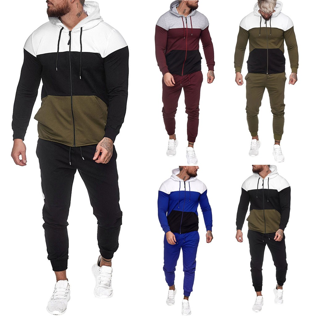 New Running Sets Mens Autumn Splicing Zipper Print Sweatshirt Top Pants Sets Sport Suit Tracksuit Fitness Training Gym Suit