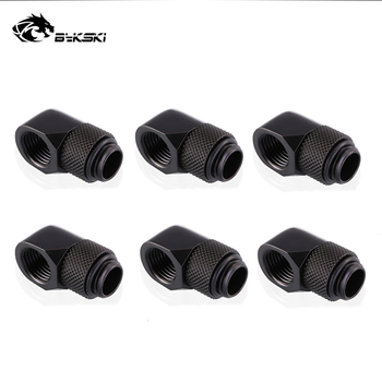 6pcs/lot G1/4'' 90 Rotary Compression fitting 90 degree Rotary Fitting water cooling Adaptors Metal Connector 6pcs lot g1 4 thread barbed fitting connector for computer case water cooling barb fitting