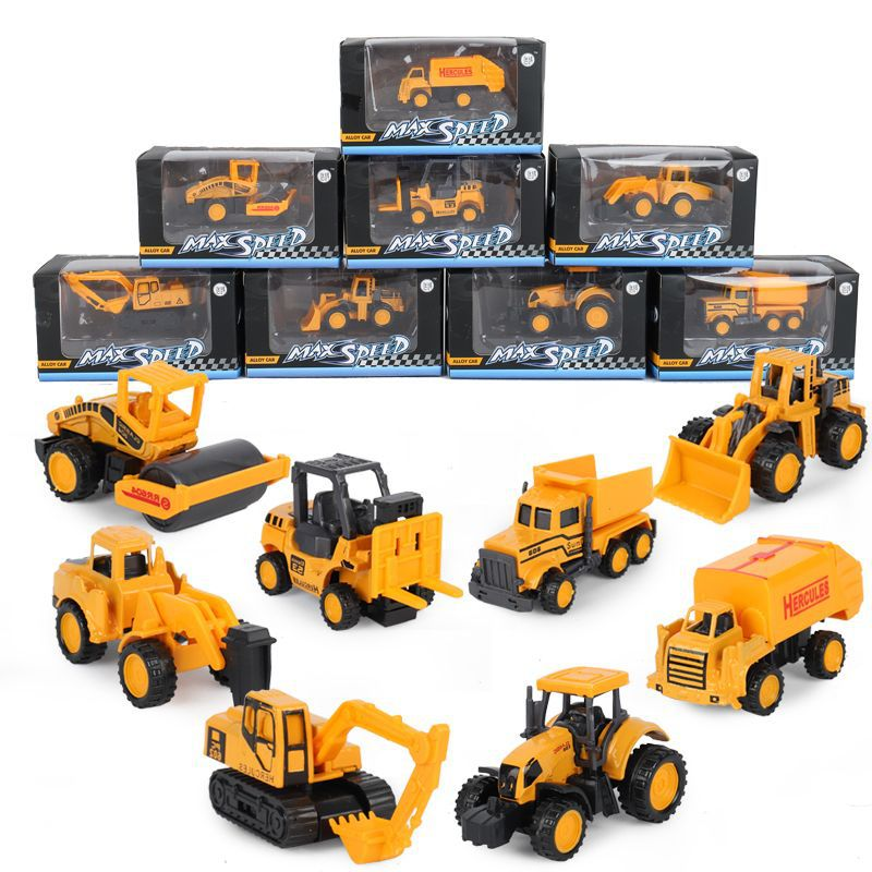 8 Styles Mini Engineering Car Tractor Toy Dump Truck Model Classic Toy Alloy Car Children Toys Engineering Vehicle Birthday Gift