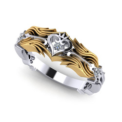 Latest Design Unique Rose Jewelry Ladies Fashion Crystal Ring King Crown Heart Women's Engagement Wedding Ring Anniversary Ring