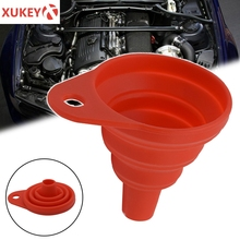 Universal Silicone Collapsible Car Auto Engine Funnel Gasoline Oil Fuel Petrol Diesel Liquid Washer Fluid Change Fill Transfer