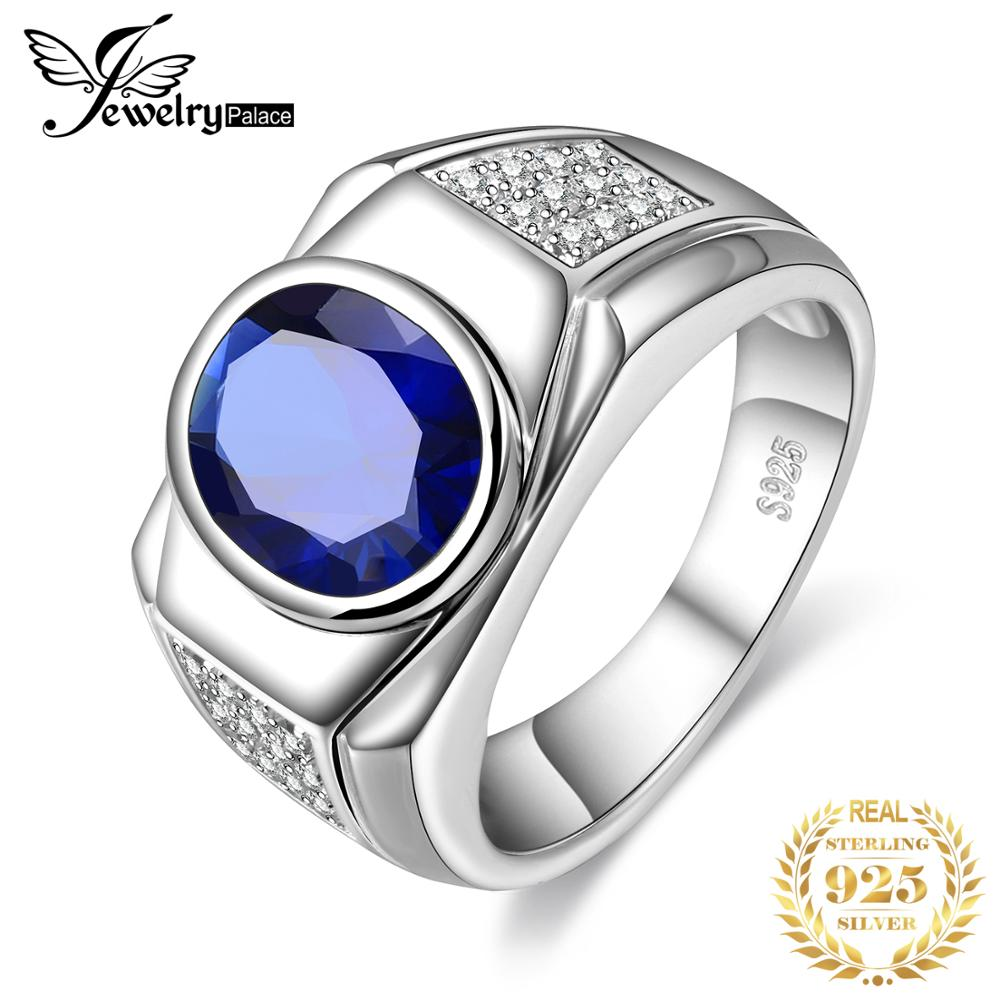 Jewelrypalace Oval Men's Created Sapphire Anniversary Engagement Wedding Ring 925 Sterling Silver Men's Ring Fashion Jewelry