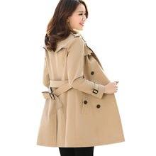 Trench-Coat kaki avec ceinture pour femme, coupe-vent ample, 4XL, nouvelle mode printemps-automne