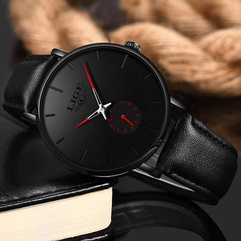 Image 5 - 2019 Fashion Silple Thin Watch For Mens Watches Top Brand Luxury Male Casual Leather Waterproof Quartz Clock Relogio Masculino-in Quartz Watches from Watches