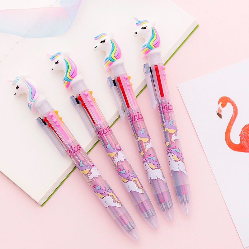 1 Pcs Unicorn Cartoon 6 Colors Ballpoint Pen School Office Supply Gift Stationery Papelaria Escolar Funny Colorful Refill Pens