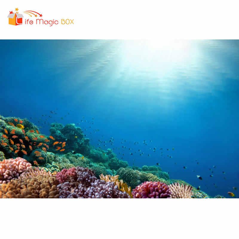 LIFE MAGIC BOX พื้นหลังคริสต์มาส Sea ด้านล่าง Coral Pearl Shark Sea Mermaids การถ่ายภาพฉากหลังสเปรย์