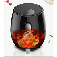 Smart Press Screen Air Fryer Home Oil-Free Degreasing Electric Fries Machine Indoor Grill Black-US Plug
