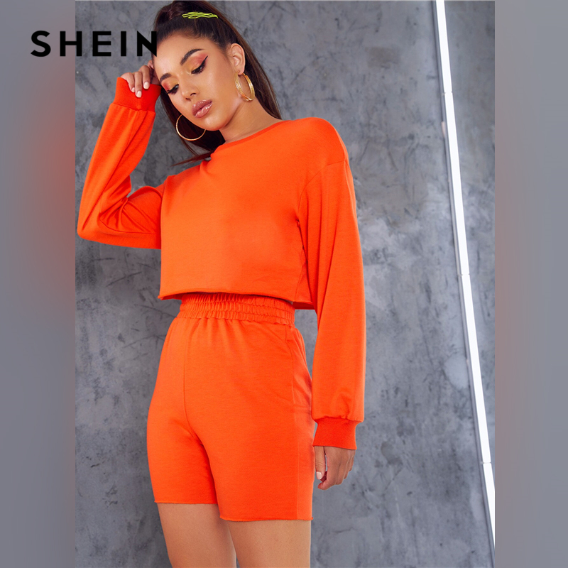 SHEIN Neon Orange Drop Shoulder Pullover and Cycling Shorts 2 Piece Set Women Autumn Long Sleeve Leisure Casual Two Piece Set 2