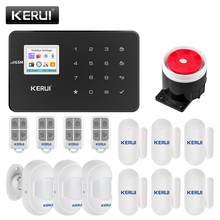 Kerui g18 sistema de alarme de segurança, para casa, sem fio, gsm, sensor de movimento anti roubo, app, controle remoto inteligente kits de casa