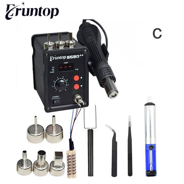 Czarny 700W 858D + + stacja lutownicza ESD LED cyfrowy SMD lutowane Blowser gorąca wiatrówka ulepszona z 858D 858D +