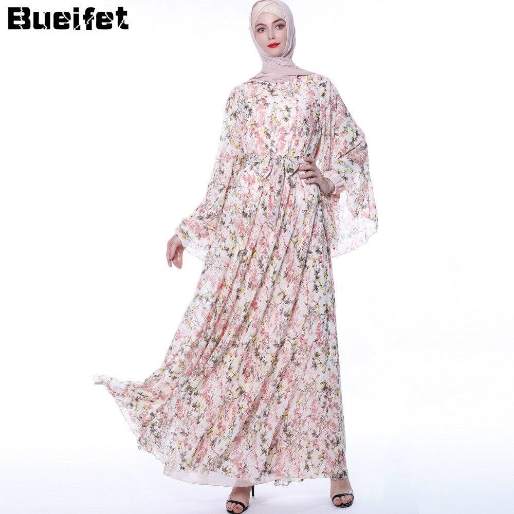 Floral Abaya Dress Women Hijab Dress Kaftan Dubai Abaya Turkey Muslim Vestidos Retro Prayer Islamic Clothing Robe Femme 1