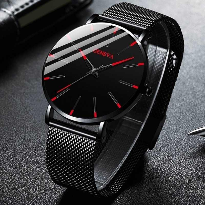 Reloj Hombre 2020 Watch Pria Minimalis Ultra Tipis Jam Tangan Fashion Pria Stainless Steel Mesh Belt Kuarsa Watch Relogio Masculino