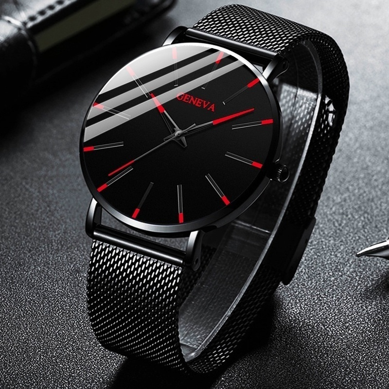 reloj hombre 2020 Watch Men Minimalist Ultra Thin Watches Men's Fashion Stainless Steel Mesh Belt Qu