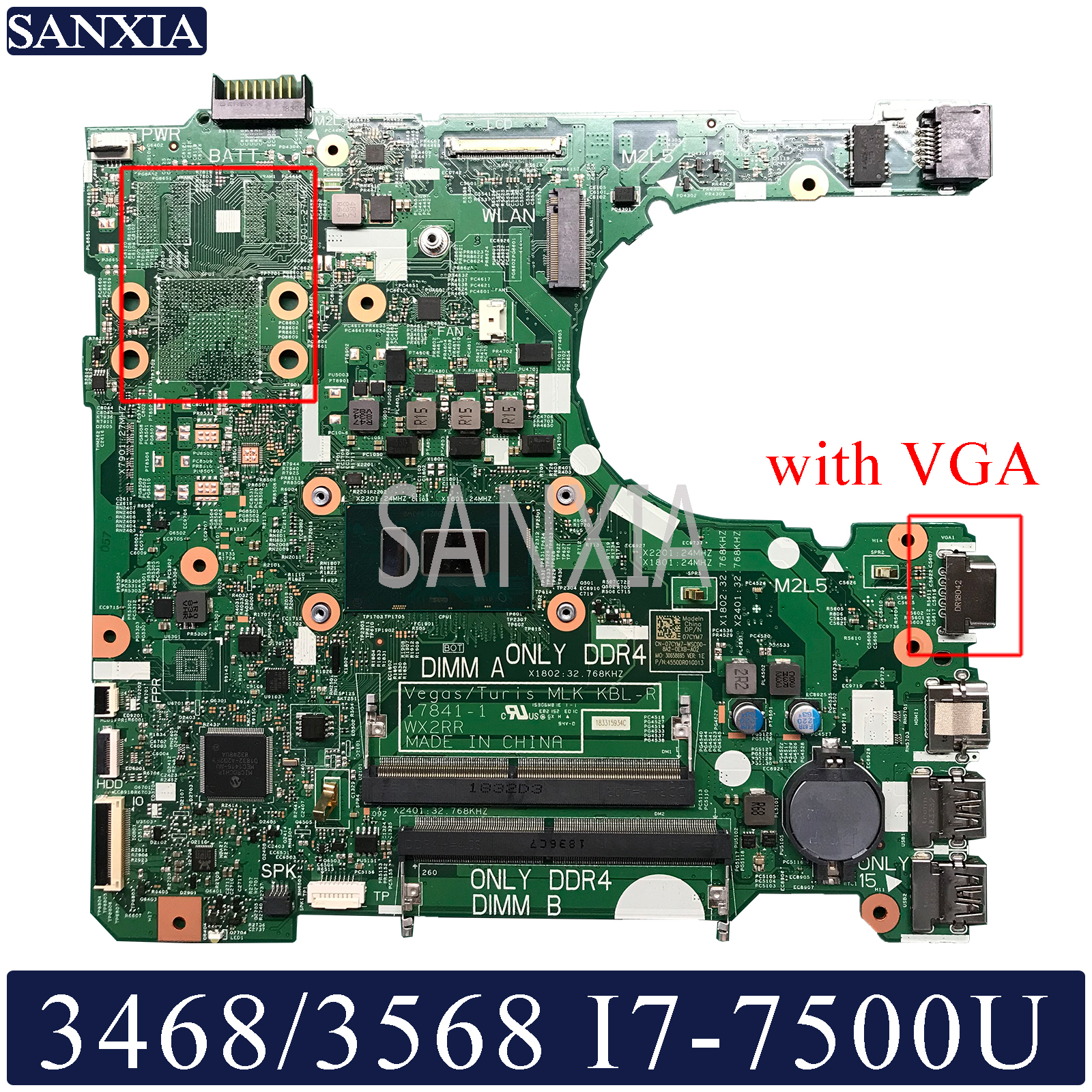 KEFU 17841 1 Laptop motherboard for Dell 3568 3468 original mainboard I7 7500U with VGA