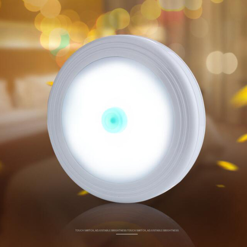 1pcs 6 Led Night Light Detector Indoor Wall Lamp Living Room White Warm Yellow Light On/Off Button Closet AAA Battery Power
