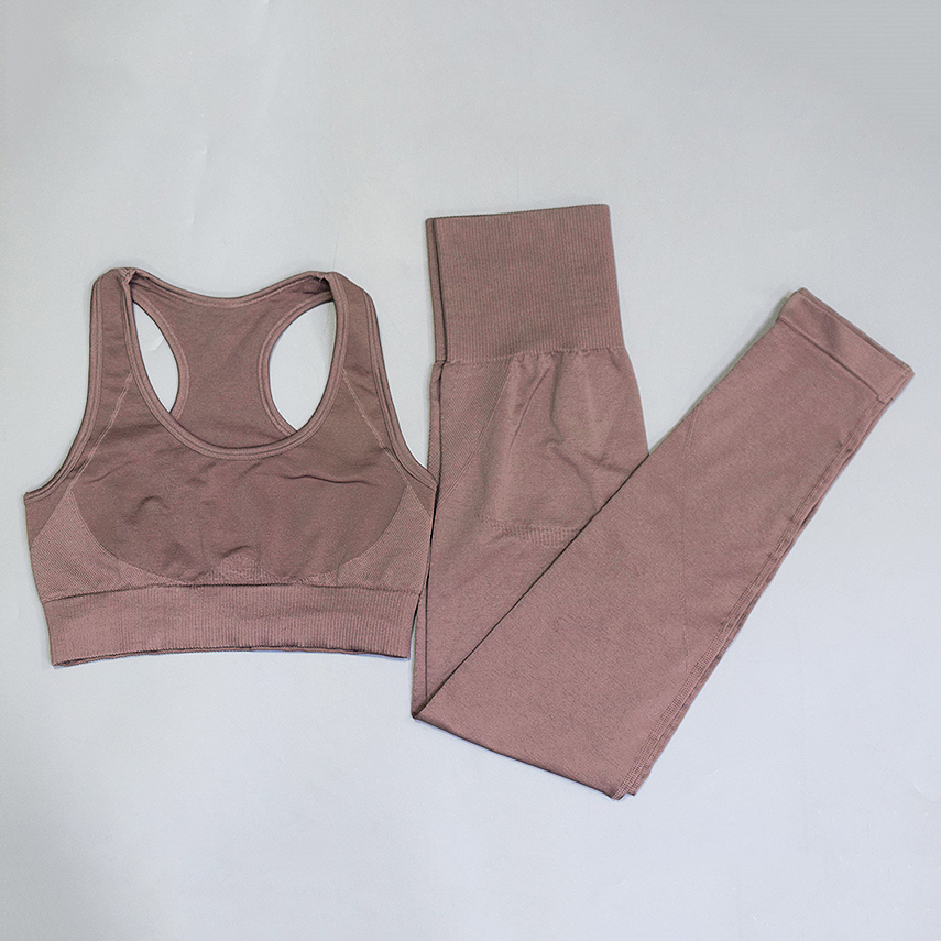 Women Seamless Yoga Set Fitness Tops Tracksuit Female Solid 2 Piece Set Padded Corp Top Long Leggings Casual Yoga Bra+pants