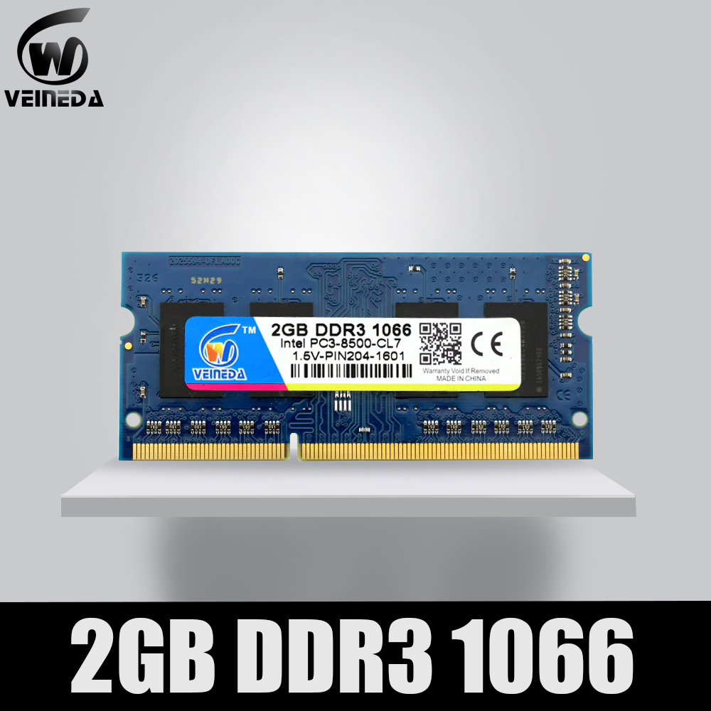 VEINEDA Memory Ram DDR3 2gb 1066 Sodimm ram ddr 3 PC3 8500 204pin Compatible 1333mhz For