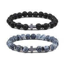 8mm grânulos cruz hematite pulseira & bangles natural preto lava pedra encantos pulseiras para mulheres yoga masculino jóias pulseras hombre
