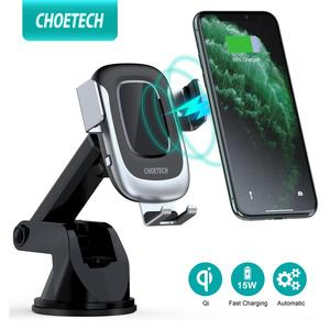 Image 1 - CHOETECH 15W Fast Wireless Car Charger Car Phone Holder Stand Auto Clamping Car Mount for iPhone Samsung Huawei Xiaomi