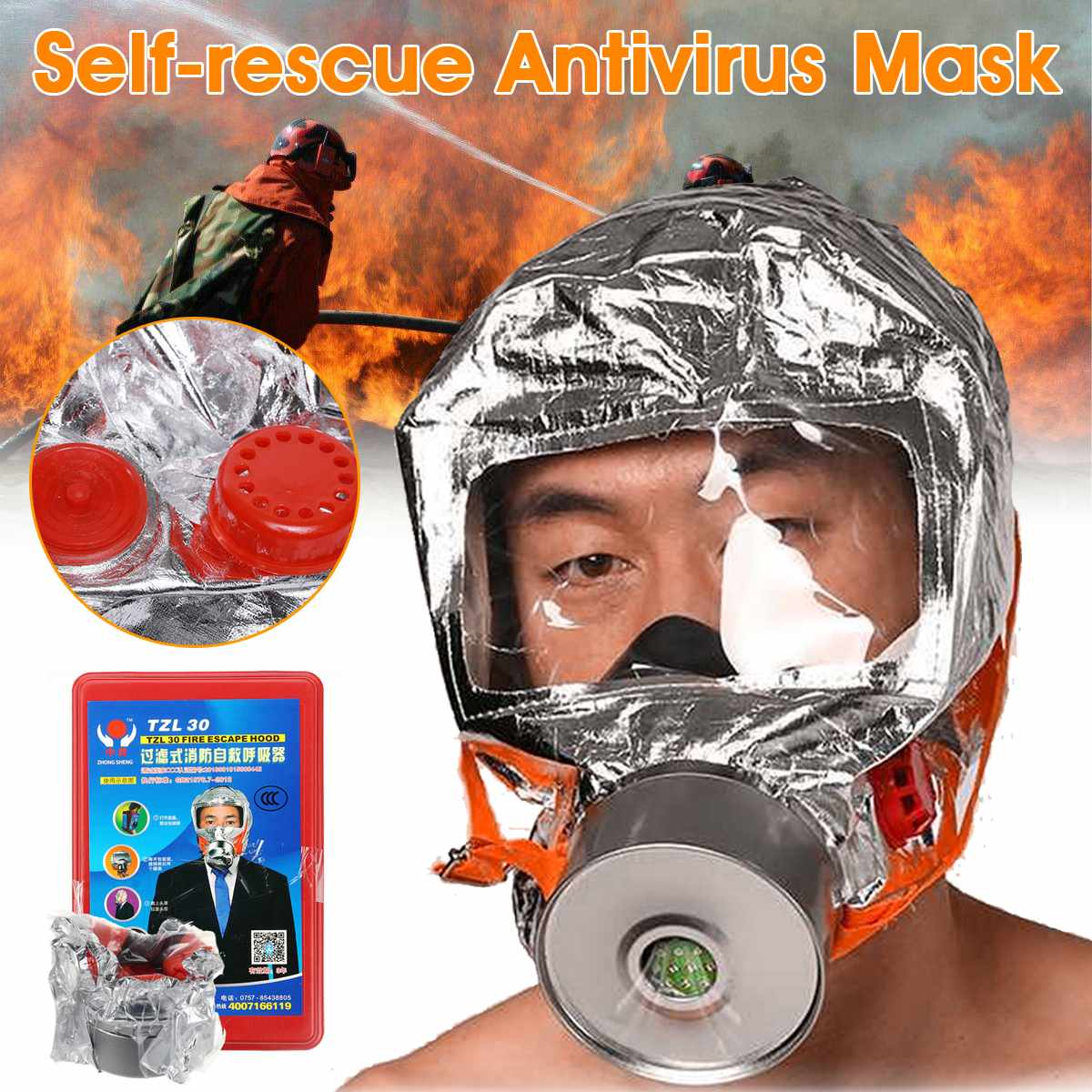 Smoke Fire Fog Mask Filtering Respiratory Protective Devices For Hotel Household Firefighting Escape Self-rescue Antivirus Mask