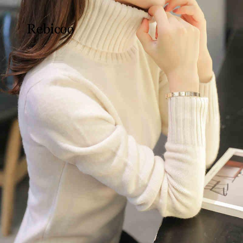 Autumn Winter Women Knitted Sweaters  Fashion Thick Warm Pullovers Turtleneck Long Sleeve Solid Color Sweaters Female Tops