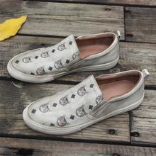 Handmade Women'S Low Top Fashion Leather Sneakers Hand-Painted Cats