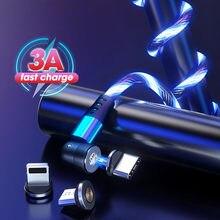 540 ° gire o cabo magnético 3a de carregamento rápido que flui o tipo móvel luminoso do diodo emissor de luz c usb micro cabo de usb para iphone