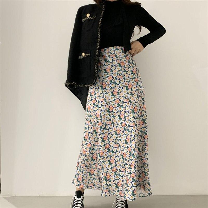 Alien Kitty Women Florals Vintage New 2020 All Match Sweet Chic Hot Sale A-Line Streetwear High Quality High Waist Long Skirt