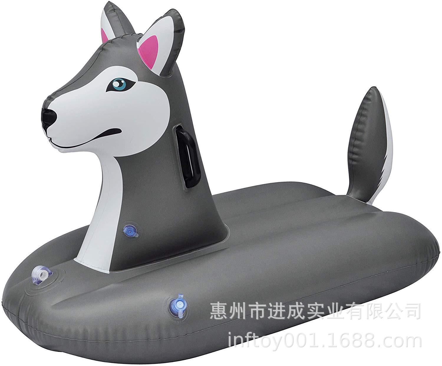 Inflatable Skiing Toy Thick Ultra-stretch Cold-resistant PVC Simulated Animal Dog Skiing Floating Row Water Floating Bed Recline