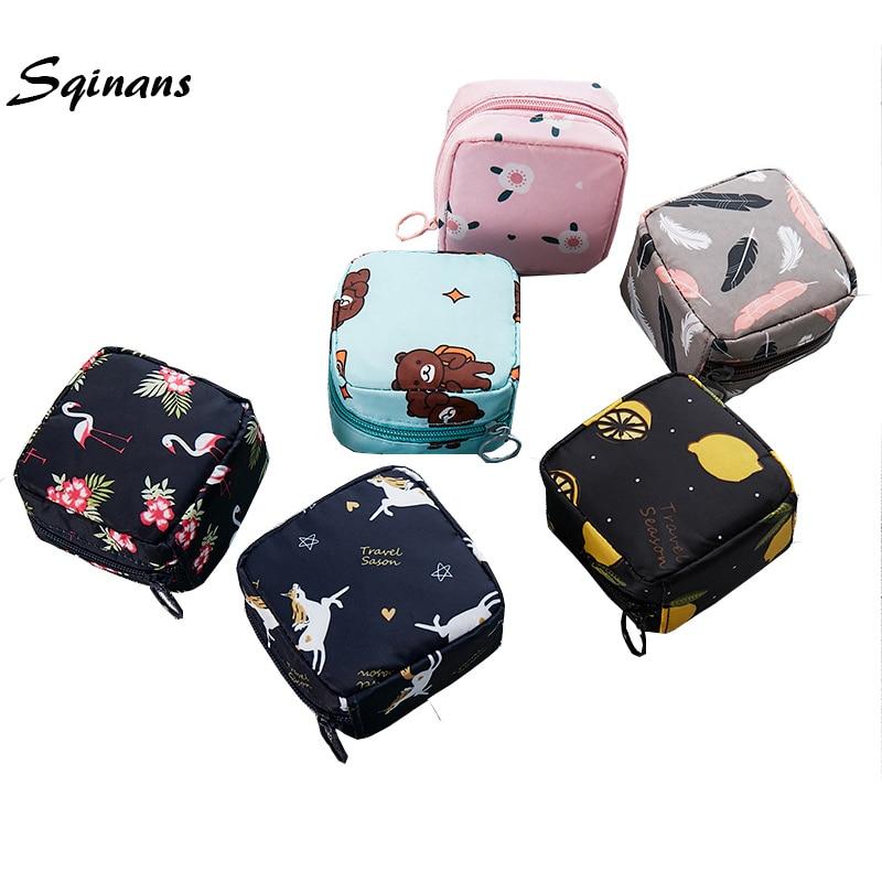 Sqinans Women Sanitary Pad Pouch Cotton Girls Cosmetic Bags Makeup Bag Napkin Bag For Ladies Tampon Organizer Bags
