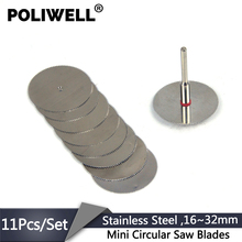 POLIWELL 16 millimetri ~ 32 millimetri In Acciaio Inox Mini Circolare Seghe Lama Set 3 millimetri Fisso Asta di Plastica di Taglio Ruota disco per Dremel Utensile Rotante