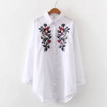 Fashion womens tops and blouses 2019 ladies white shirts for women button Embroidery Floral blusas mujer de moda 0241
