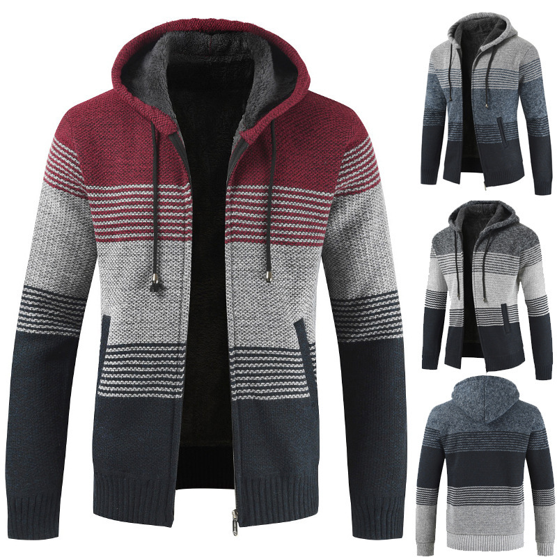 Men's 2020 Spring Autumn Mens Hooded Stripe Coat Thick Zipper Wool Sweater Cardigan Jumpers Male J6T868