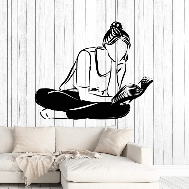 Girl and Reading Vinyl Wall Decals School Library Classroom Study Childrens Room Home Decoration Art Sticker LW456