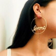 Модные женские большие круглые серьги кольца hyperbole femme