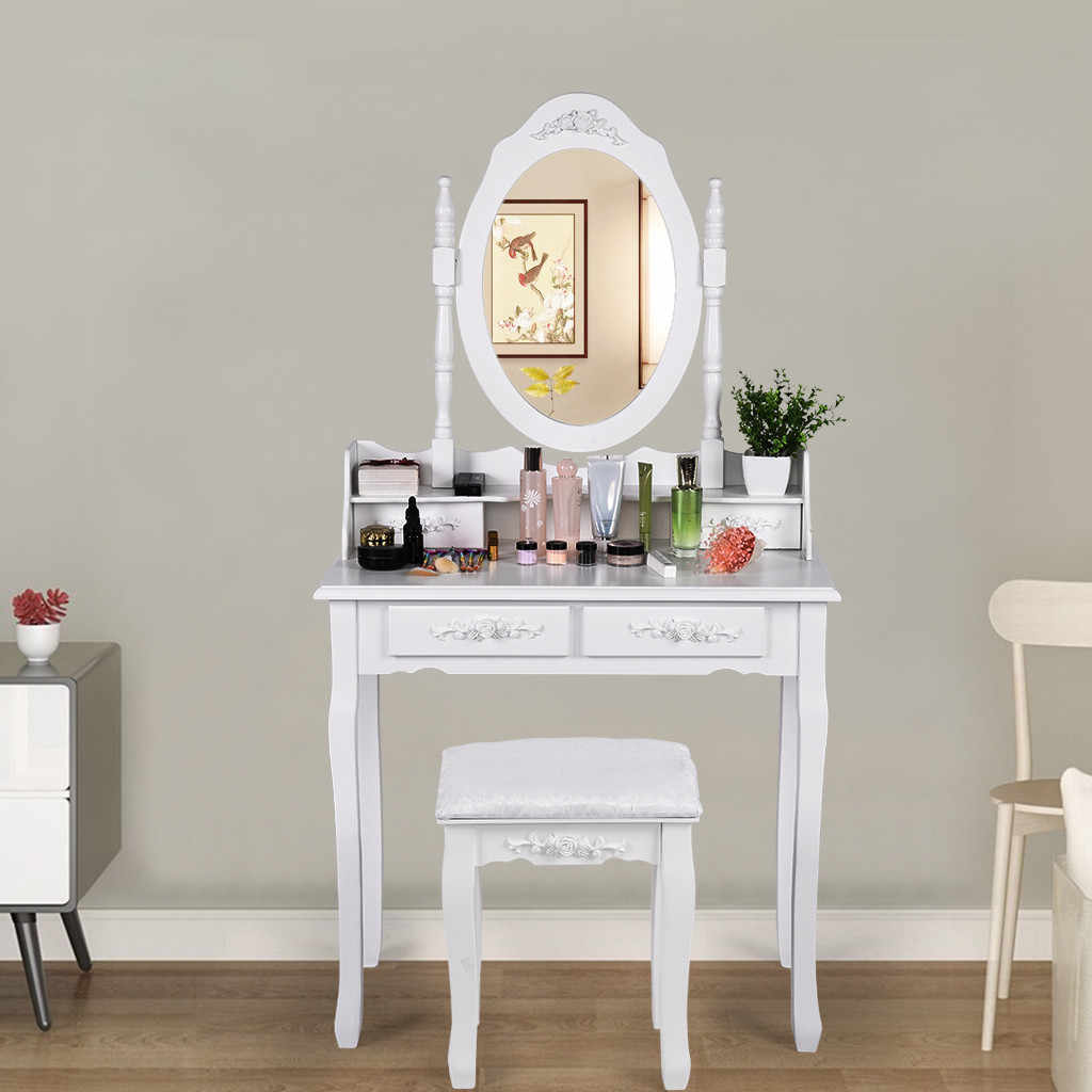 Concise 4 Drawer Vanity Makeup Dressing Table With Mirror Dresser Chair White Makeup Vanity Table Set Jewelry Storage Cabinet G3 Aliexpress