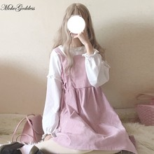 Kawaii Lolita Japanese soft girl lolita kawaii cute retro sweet bow tie corduroy JSK dress(China)