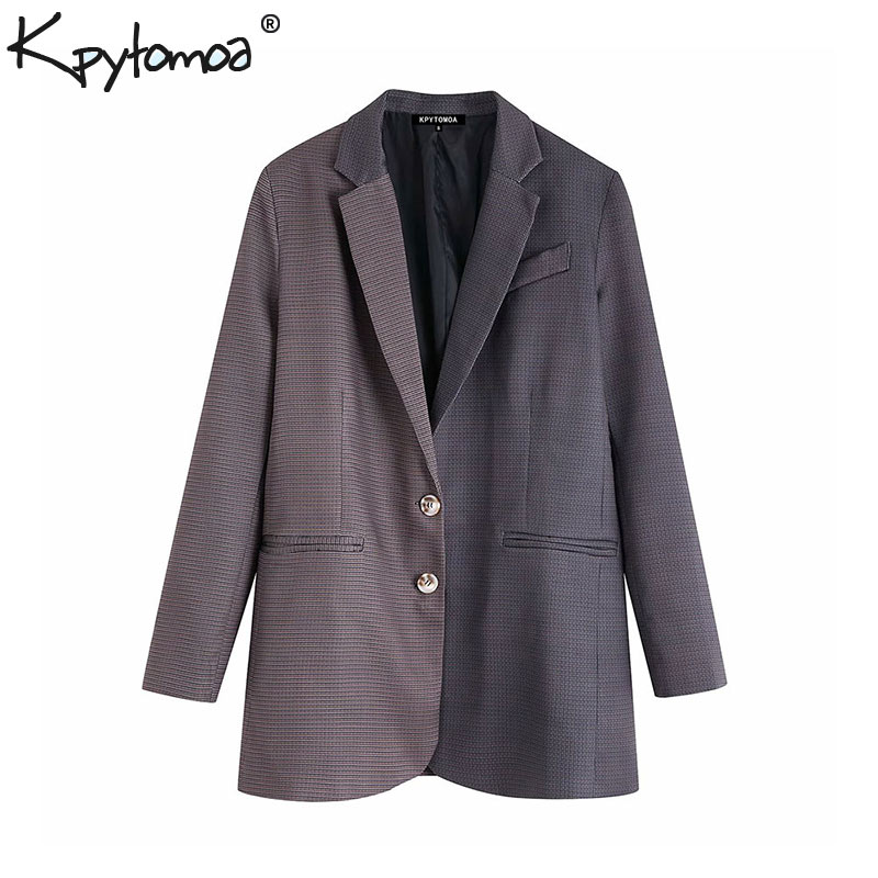 Vintage Stylish Office Wear Patchwork Plaid Blazer Coat Women 2020 Fashion Long Sleeve Pockets Female Outerwear Chic Tops