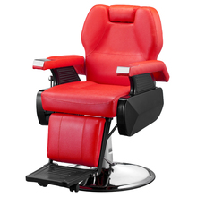 Classic Hydraulic Recline Hair Salon Iron Leather Sponge Barber Chair Red