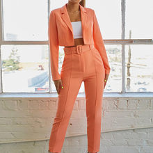 Solid Notched Neck Blazer And Belted Crop Pants 2 Piece Set Women Autumn Elegant Office Ladies Outfits Two Piece Set e2(China)
