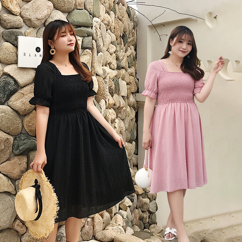 200 Summer Fat Mm Dress Large Size Dress Slimming Belly Covering Sweet Fairy Pleated Short-sleeved Long Dress 2006