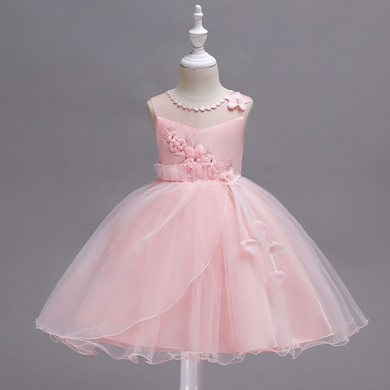 New Style Girls Childrenswear Korean-style Children Pink Princess Puffy Dress Baby Formal Dress Sleeveless Wedding Dress