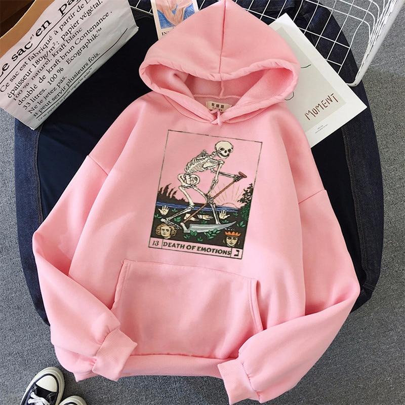 Print Anime Skull oversized Women Sweatshirt Kawaii Hoodies Hoody korean style Pullovers Female Full Sleeve top harajuku clothes 3