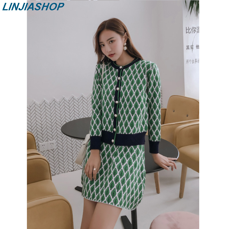 Knitted Two Piece Set Green Red Top With Bottons Short O Neck Mini Dress Office Lady  Autumn Women Sweaters Vestidos
