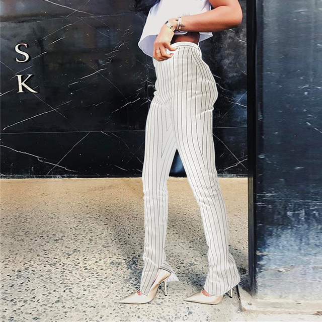 KGFIGU Office pants For women 2020 High waist striped trousers women Side split OL style Skinny long Bottom Have stretchy White 34