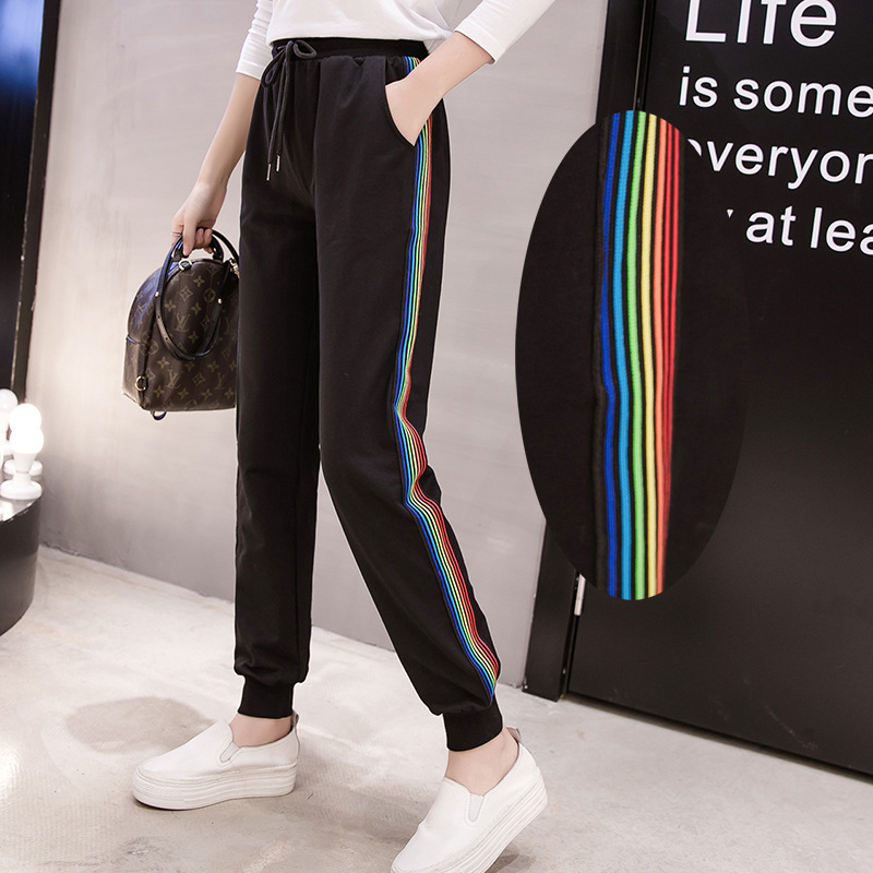 DONAMOL Plus Size Women's Casual Pants Harem Long Trousers Rainbow Patchwork Striped Drawstring Waist Sweatpants 200KG